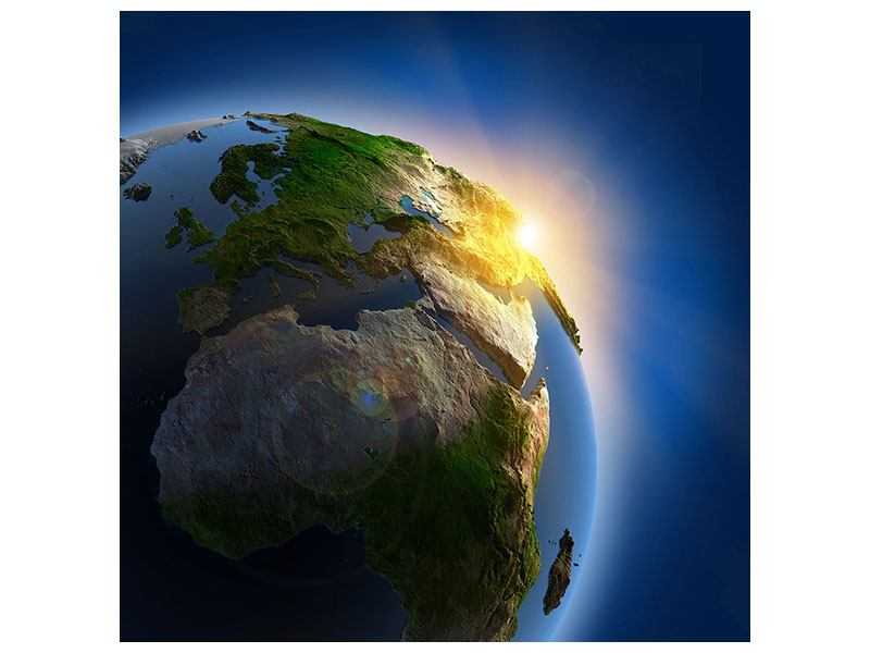 Metallic-Bild Sonne und Erde