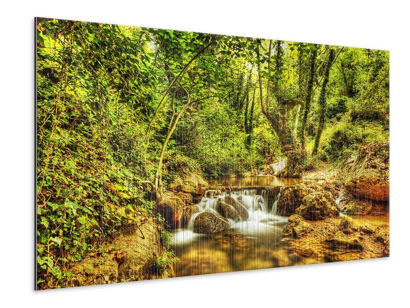 Metallic-Bild Wasserfall im Wald