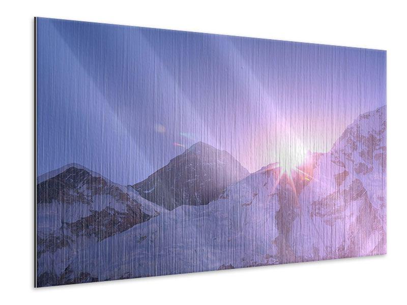 Metallic-Bild Sonnenaufgang beim Mount Everest