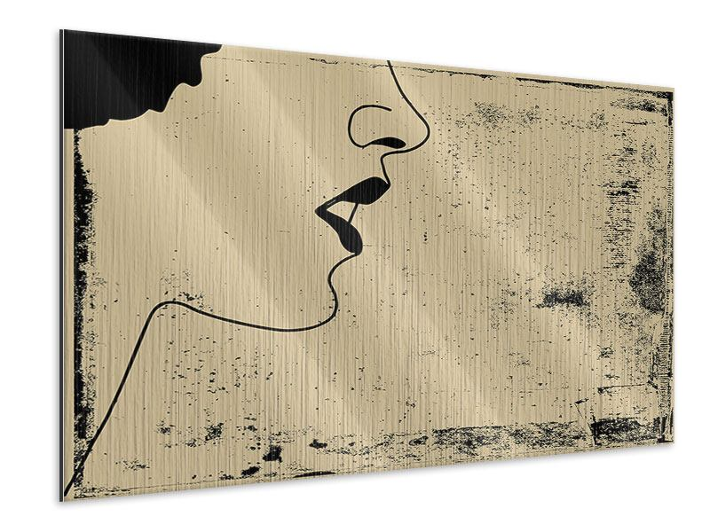 Metallic-Bild Frauenportrait im Grungestil