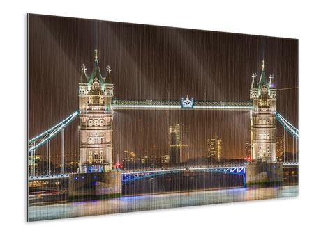 Metallic-Bild Tower Bridge bei Nacht