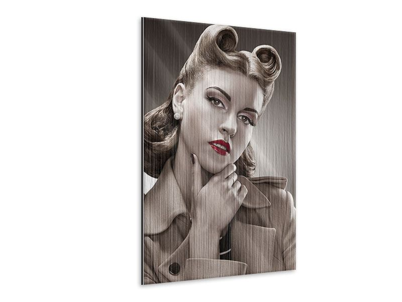 Metallic-Bild Pin Up im Retrostyle