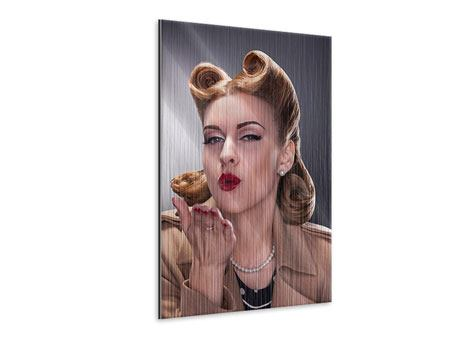 Metallic-Bild Pin Up Kuss