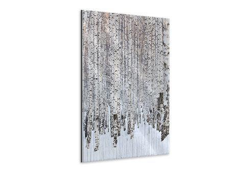 Metallic-Bild Der Birkenwald im Winter