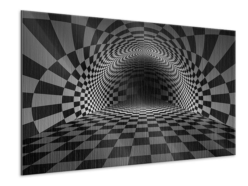 Metallic-Bild Abstraktes Schachbrett
