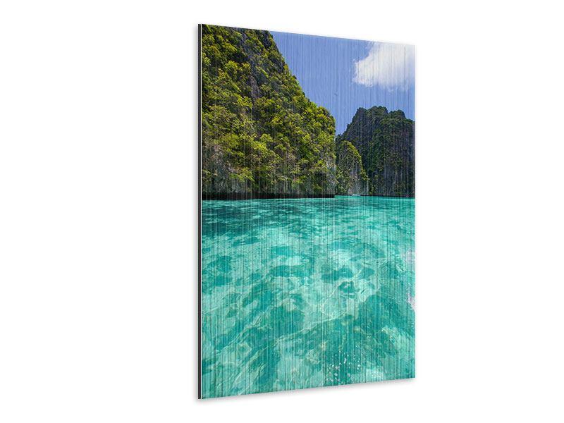 Metallic-Bild Das Kliff und das Meer