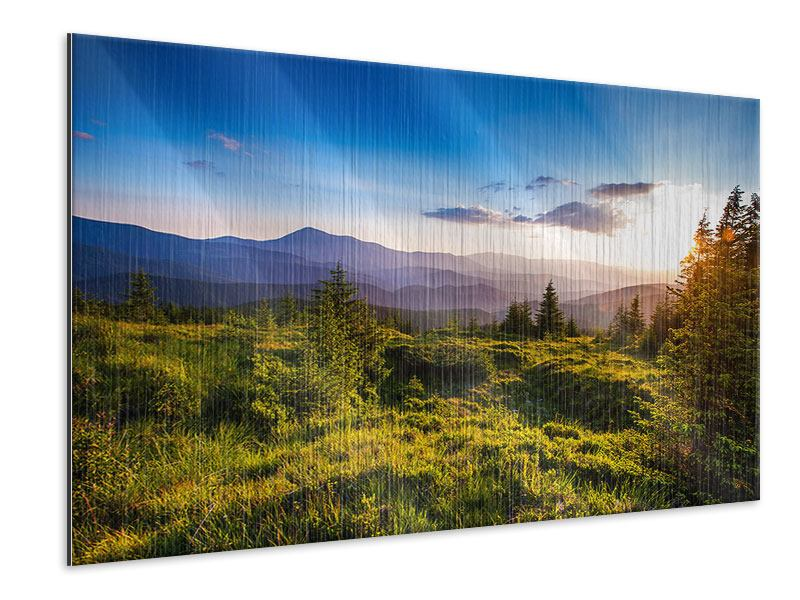Metallic-Bild Friedliche Landschaft
