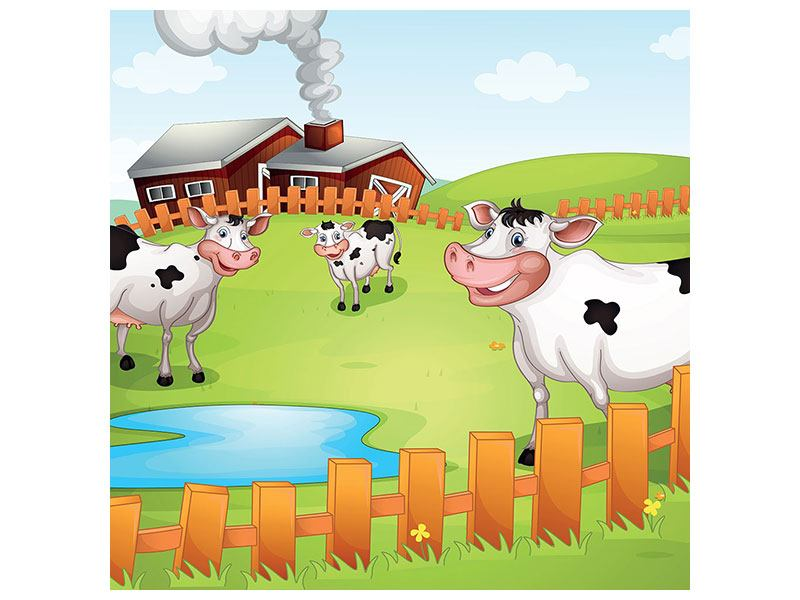 Metallic-Bild Die lustigen Kühe