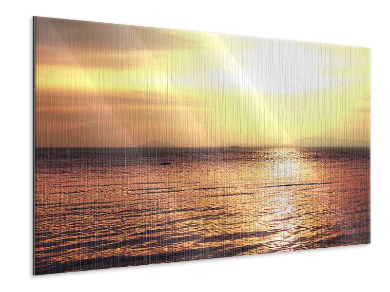 Metallic-Bild Sonnenuntergang an der See