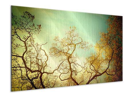 Metallic-Bild Bäume im Herbst