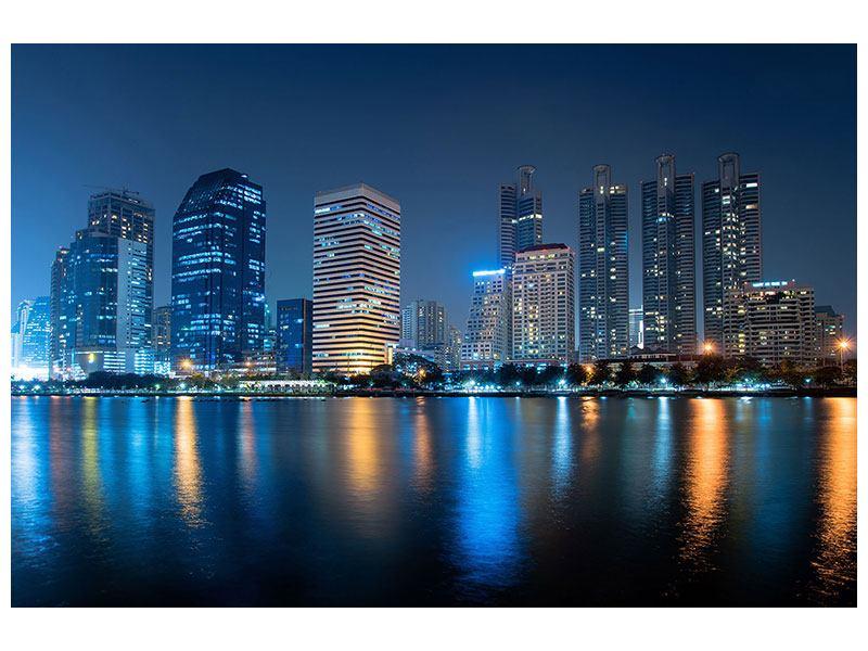 Metallic-Bild Skyline Bangkok bei Nacht