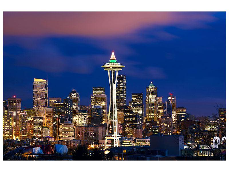 Metallic-Bild Skyline Seattle
