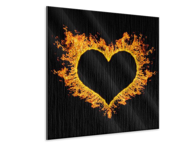 Metallic-Bild Herzflamme