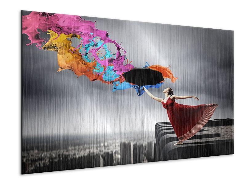 Metallic-Bild Tanz auf dem Wolkenkratzer