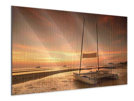 Metallic-Bild Sonnenuntergang am Strand