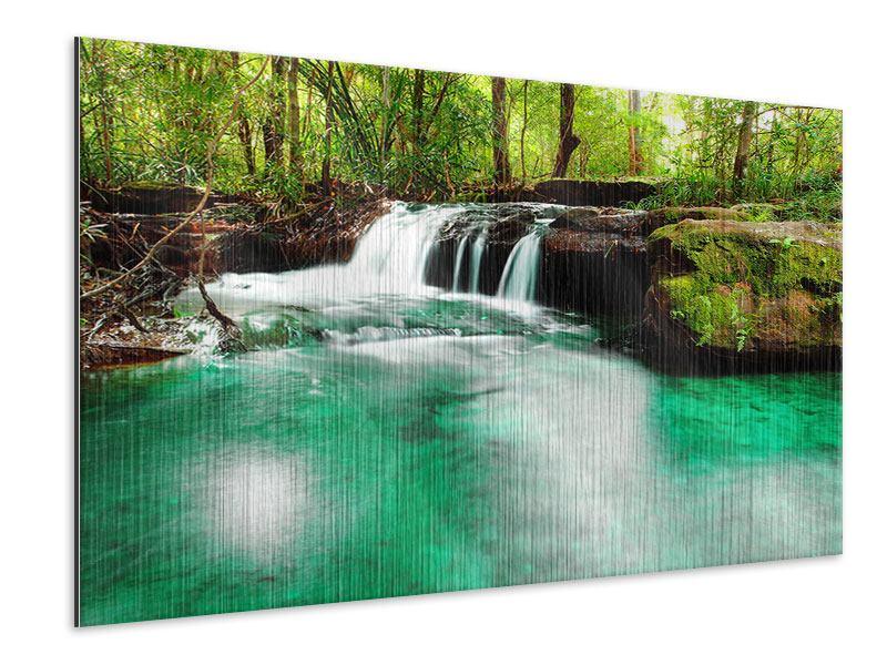 Metallic-Bild Der Fluss am Wasserfall