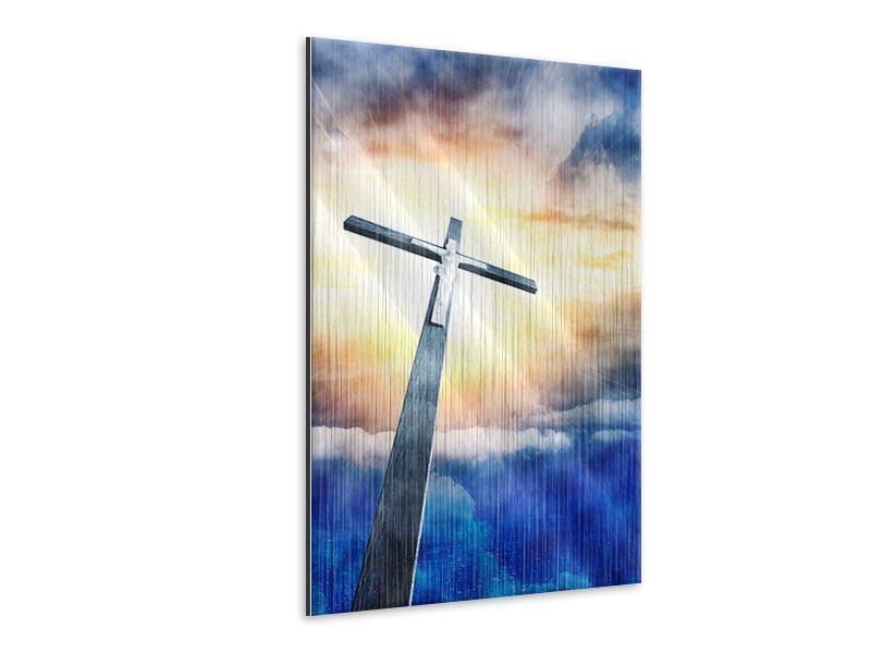 Metallic-Bild Jesus am Kreuz