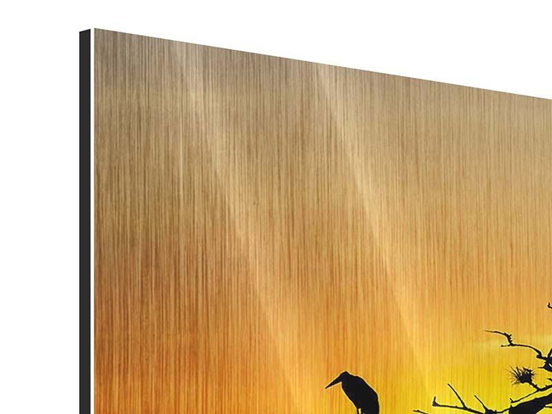 Metallic-Bild Safarietiere bei Sonnenuntergang