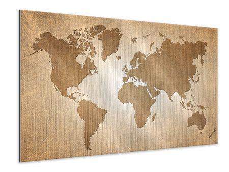 Metallic-Bild Karte der Welt in Vintage