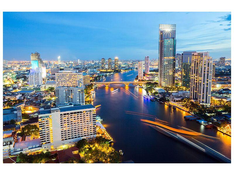 Metallic-Bild Skyline Bangkok bei Sonnenuntergang