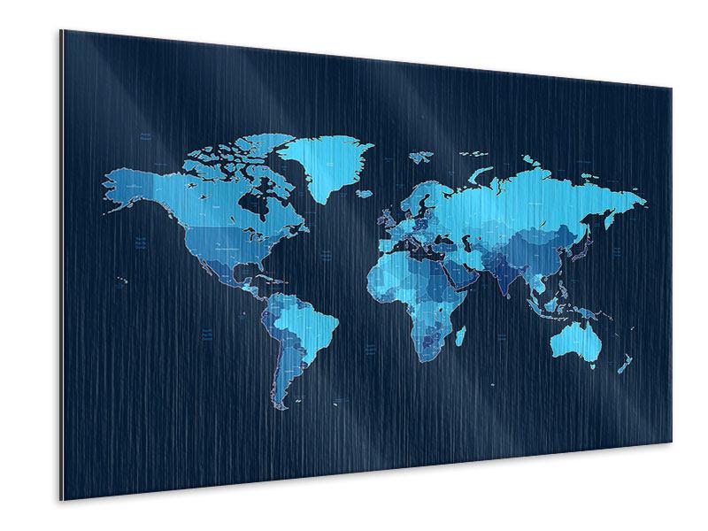Metallic-Bild Weltkarte