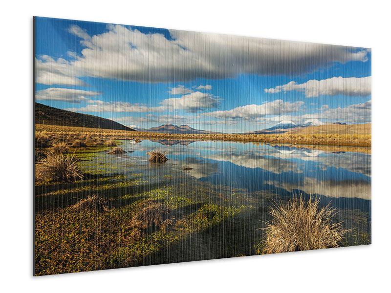 Metallic-Bild Wasserspiegelung am See