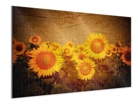 Metallic-Bild Retro-Sonnenblumen