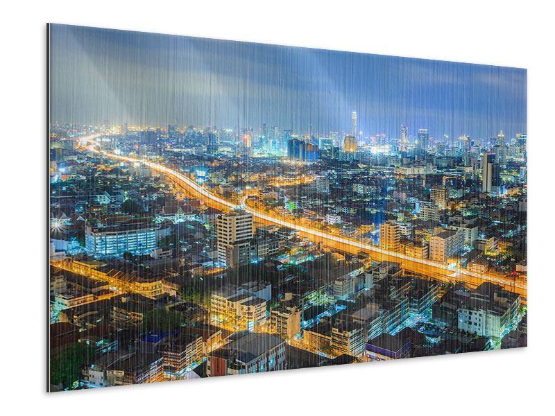 Metallic-Bild Skyline Bangkok im Fieber der Nacht