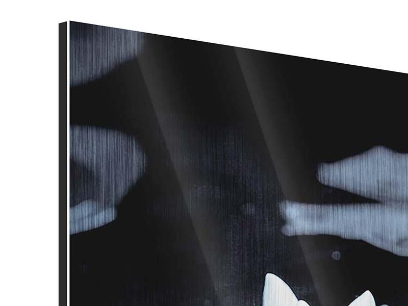 Metallic-Bild Schwarzweissfotografie der Seerose
