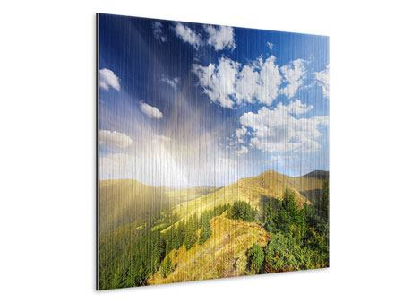 Metallic-Bild Sonnenaufgang im Gebirge