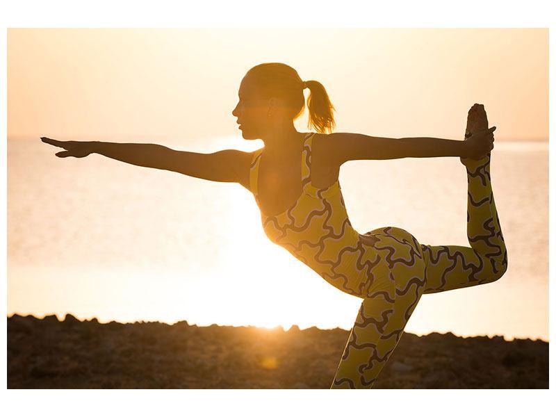 Metallic-Bild Yoga bei Sonnenuntergang