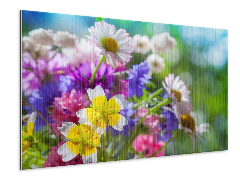 Metallic-Bild XXL Gartenblumen