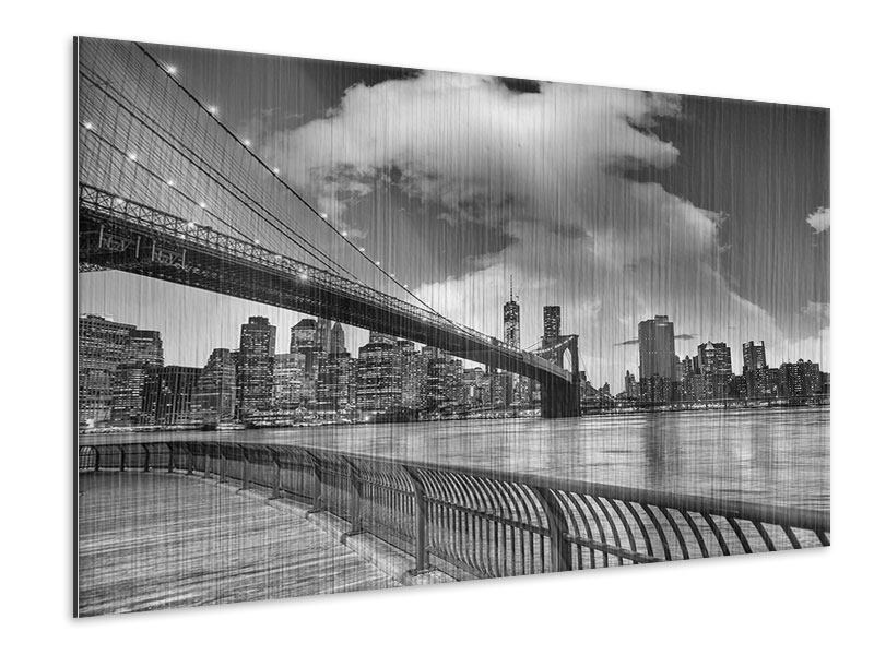 Metallic-Bild Skyline Schwarzweissfotografie Brooklyn Bridge NY