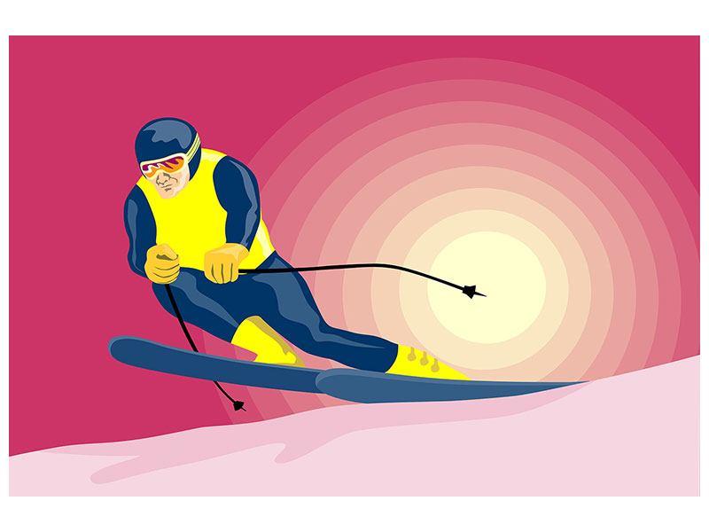 Metallic-Bild Retro-Skifahrer