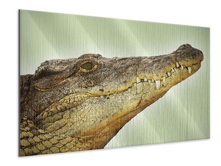 Metallic-Bild Close Up Alligator