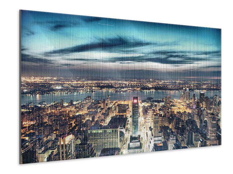 Metallic-Bild Skyline Manhattan Citylights