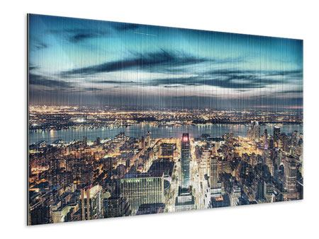 Metallic-Bild Skyline Manhattan Citylights
