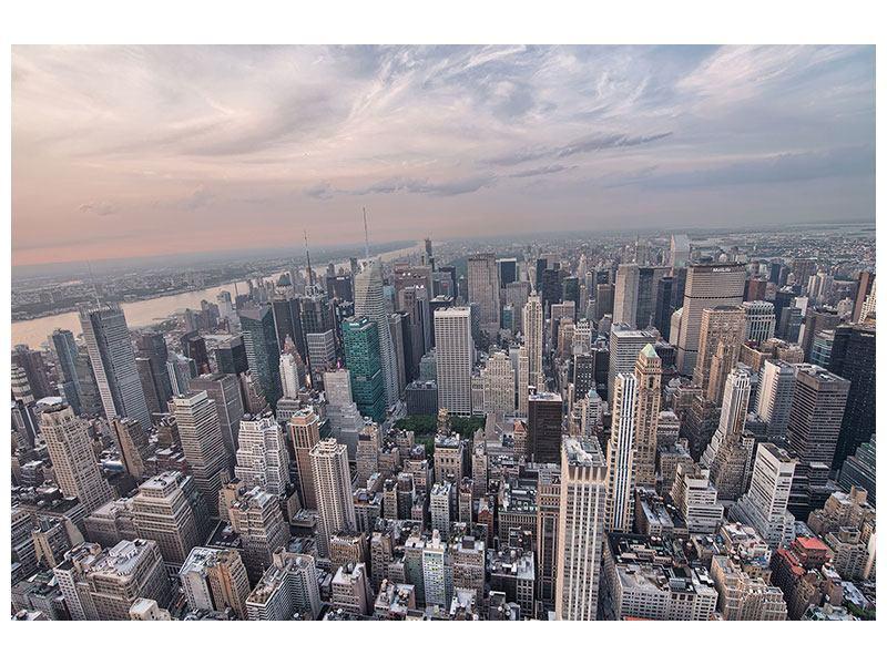 Metallic-Bild Skyline Blick über Manhattan