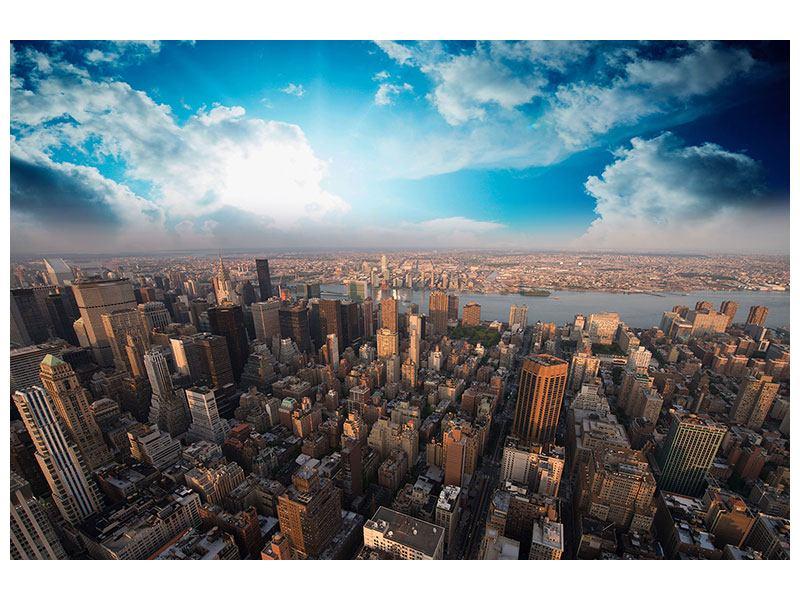 Metallic-Bild Skyline Über den Dächern von Manhattan