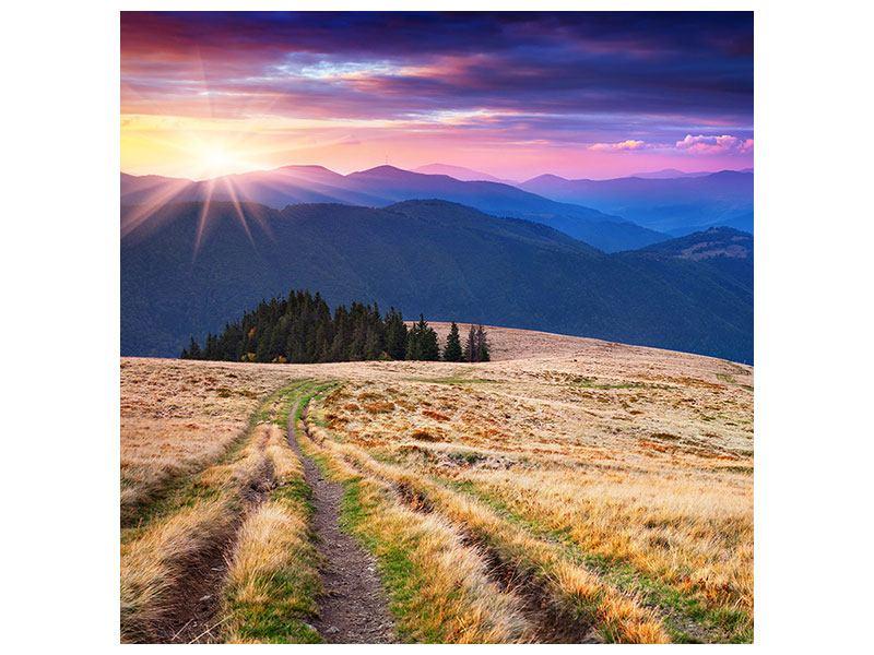 Metallic-Bild Sonnenuntergang in der Bergwelt
