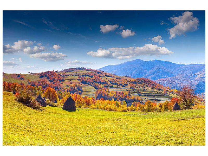 Metallic-Bild Herbstliche Berglandschaft