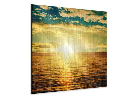 Metallic-Bild Sonnenuntergang am Meereshorizont