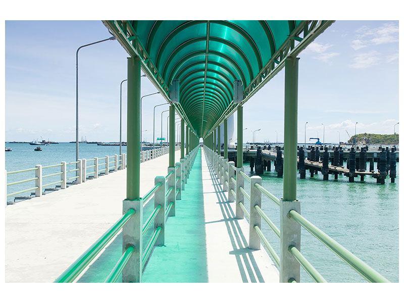 Metallic-Bild Die Brücke am Meer