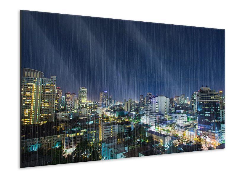Metallic-Bild Skyline Nachts in Bangkok