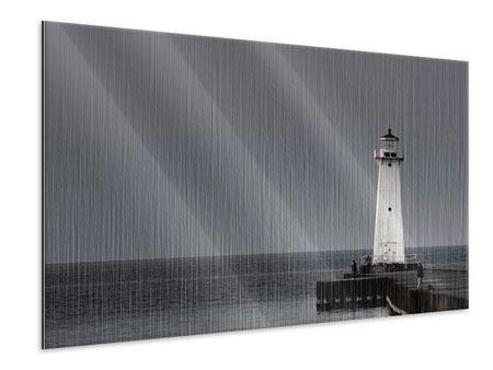 Metallic-Bild Der Leuchtturm bei Nacht