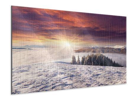 Metallic-Bild Sonnenaufgang Winterlandschaft
