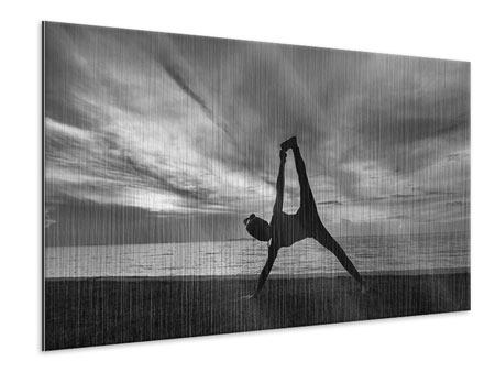 Metallic-Bild Yoga am Strand