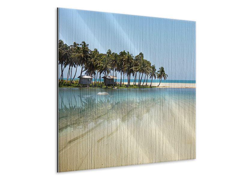 Metallic-Bild Das Meer und die Insel