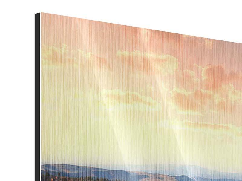 Metallic-Bild Sonnenuntergang Rocky Mountains