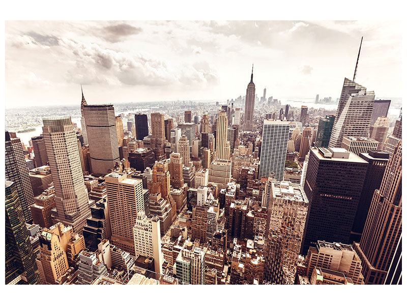 Metallic-Bild Skyline Über den Dächern Manhattans